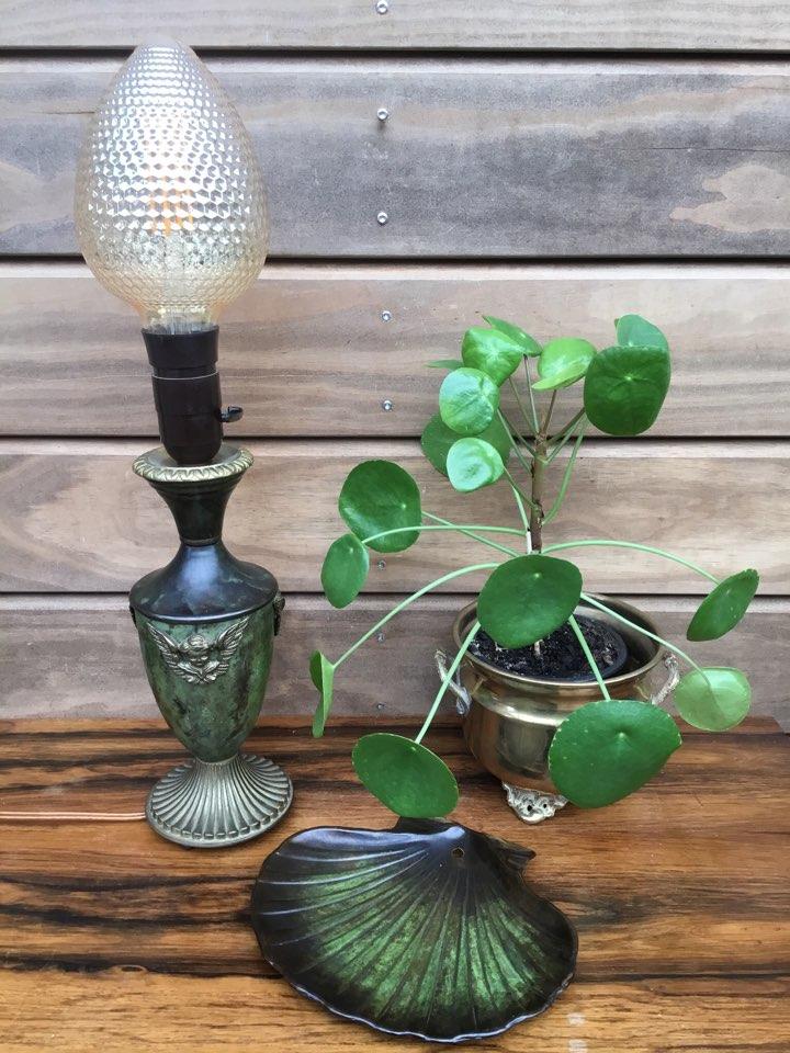 bronze, art deco, bordlampe, musling, engle, messing , vintage, retro